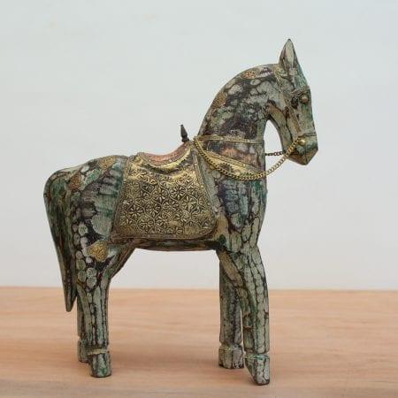 Caballo Indu aplicaciones de bronce. Tienda Himalaya J725 -5