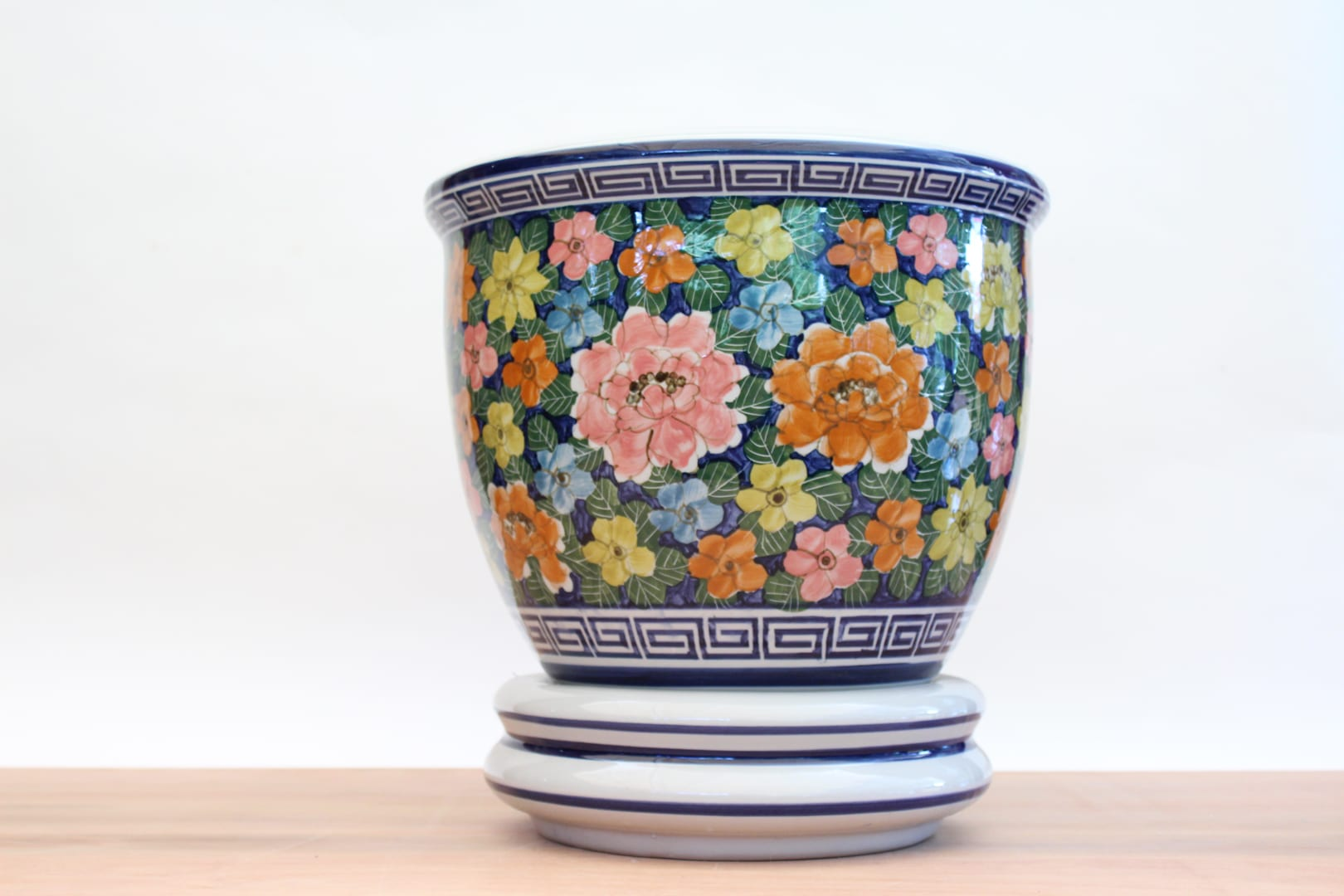 macetero floreado ceramica tienda himalaya lp