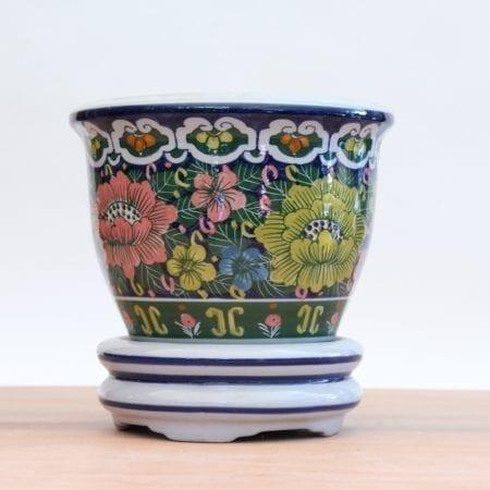 Macetero floreado con plato Tienda Himalaya LP17 -6