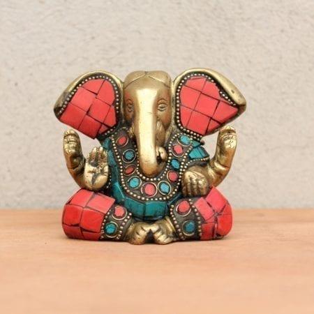 Ganesh de bronce con piedras. Tienda Himalaya. B-432