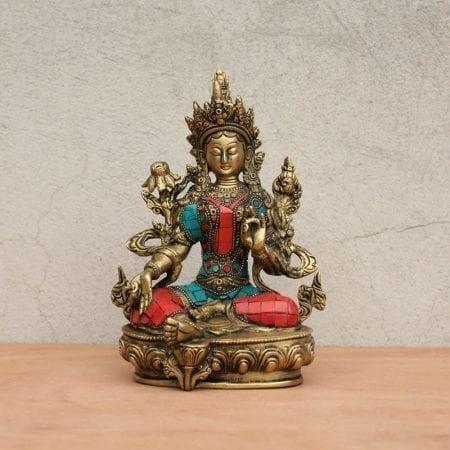 Tara de bronce con piedras incrustadas. Tienda Himalaya. B-490