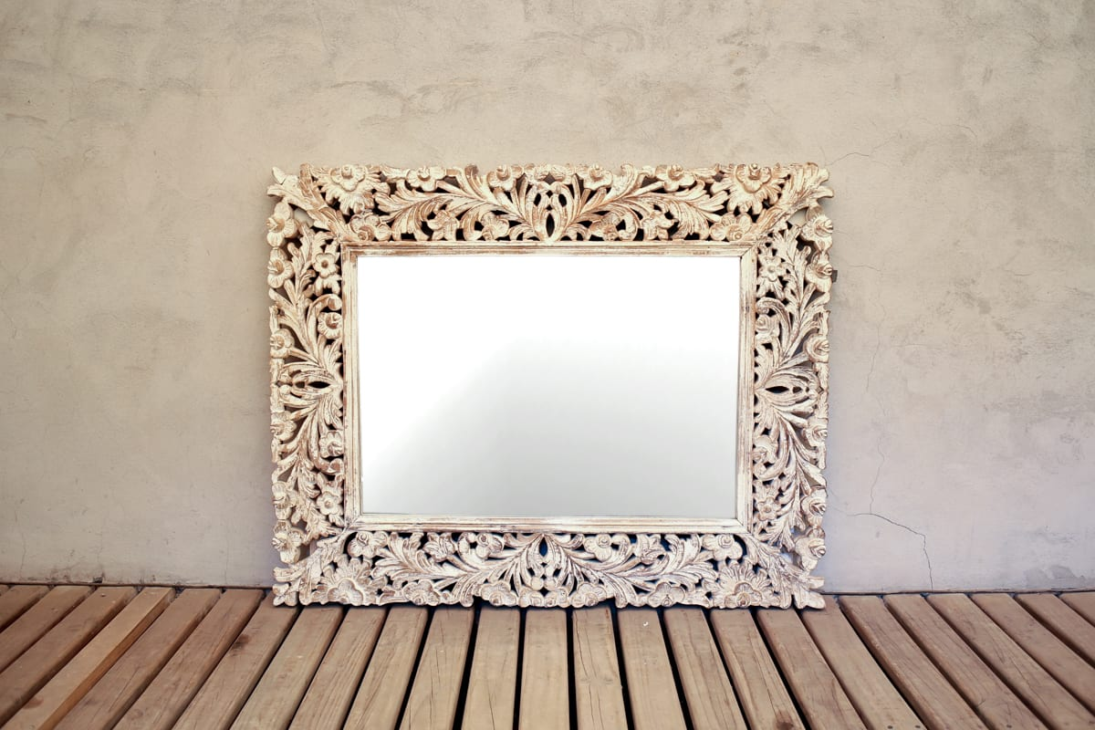 Espejo marco madera tallado | Tienda Himalaya
